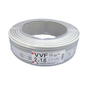 販売終了 協和電線 お買い得品 2巻セット VVFケーブル 600Vビニル絶縁ビニルシースケーブル 平形 1.6mm 2心 100m 灰色 VVF1.6×2C×100m_2set|dendenichiba