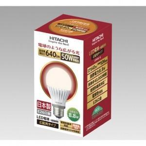 在庫限り 日立 LED電球 一般電球形 広配光タイプ 50W形相当 電球色相当 全光束640lm E26口金 LDA9L-G