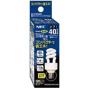 NEC 電球形蛍光ランプ コスモボール・ミニ  ミニクリプトン電球40W相当タイプ 3波長形昼光色 E17口金 EFD10ED/7-E17-C3C|dendenichiba