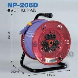 日動工業 100V 一般型ドラム アース無 2P 15A 125V コンセント数:6 長さ20m VCT2.0×2 NP-206D|dendenichiba