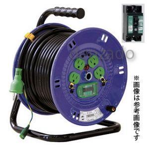 日動工業 100V 一般型ドラム アース付/アース・漏電保護専用 15mA感度緑 接地 2P 15A 125V コンセント数:4 長さ30m VCT2.0×3 NP-EB34|dendenichiba