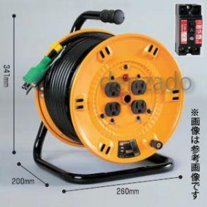 日動工業 100V 一般型ドラム アース・過負荷漏電保護兼用型 15A/15mA感度赤 接地 2P 15A 125V コンセント数:4 長さ20m VCT2.0×3 NP-EK24|dendenichiba