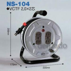日動工業 100V 一般型ドラム アース無 2P 15A 125V コンセント数:4 長さ10m VCTF2.0×2 NS-104|dendenichiba
