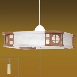 タキズミ ペンダントライト和風LEDタイプ プラスチックセード(クリア/シボ柄入) 樹脂枠(カリン調) 6畳用 プルスイッチ付 昼光色 RV60063|dendenichiba