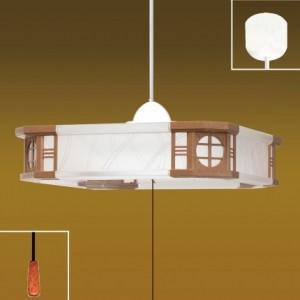 生産完了品 タキズミ ペンダントライト和風LEDタイプ プラスチックセード(クリア/シボ柄入) 樹脂枠(カリン調) 6畳用 プルスイッチ付 昼光色 EV60064|dendenichiba