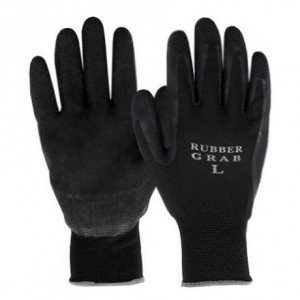 勝星産業 ラバーグラブ(背ヌキ加工) 薄手タイプ 5双組 サイズ:M 黒 #670Mの画像