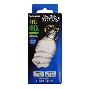 生産完了品 パナソニック 電球形蛍光灯40W形 (クール色) パルックボールスパイラルD形 (口金E17) EFD10ED/8/E17|dendenichiba