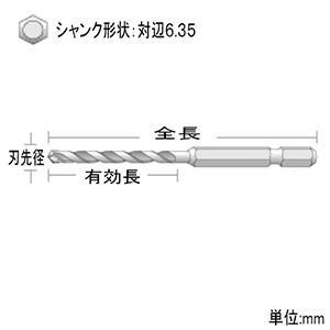 ユニカ 充電磁器タイル用ドリルビット TJタイ...の詳細画像1