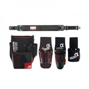 マーベル 腰道具セット 柱上安全帯用ベルト(ワンタッチバックル 軽量・スタンダード/D環1個・角環1個付)+腰回り4点セット WAISTGEARαシリーズ MAT-80BSETA|dendenichiba