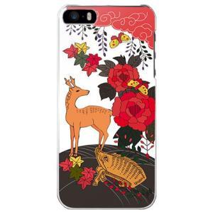 iPhone 5/5s/SE ケース カバー (お花/花札《猪鹿蝶》)