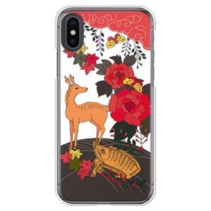 apple iPhone Xs Max ケース (お花/花札《猪鹿蝶》)
