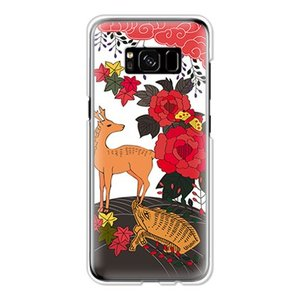 ギャラクシー Galaxy S8 SC-02J/SCV36 ケース カバー (お花/花札《猪鹿蝶》)