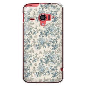 ・くすんだブルーの花柄が大人っぽいdocomo AQUOS PHONE ZETA SH-06E カバ...