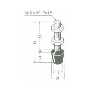 角田興業 M10×59 クランプ用圧えボルト トグルクランプ用ゴム付ボルト|dendouki2