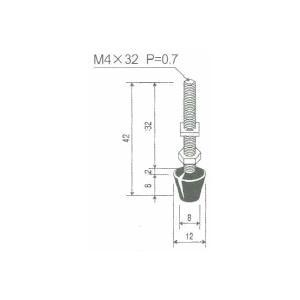 角田興業 M4×32 クランプ用圧えボルト トグルクランプ用ゴム付ボルト|dendouki2