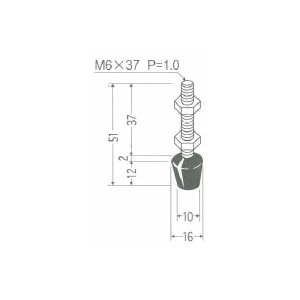 角田興業 M6×37 クランプ用圧えボルト トグルクランプ用ゴム付ボルト|dendouki2