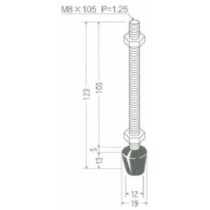 角田興業 M8×105 クランプ用圧えボルト トグルクランプ用ゴム付ボルト|dendouki2