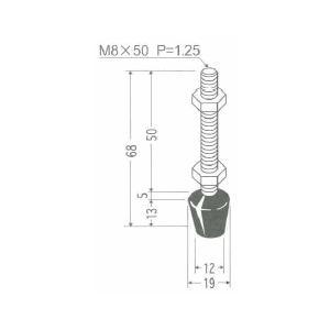 角田興業 M8×50SUS クランプ用圧えボルト トグルクランプ用ゴム付ステンレスボルト|dendouki2