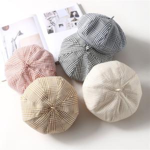 ベレー帽 帽子 レディース ファッション 秋冬ゆったりリ帽子 女性 小物 かわいい レディース 韓国風立体デザイン チェック柄|denimstorm