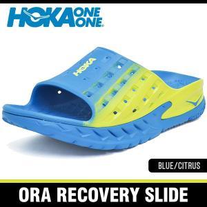 ホカオネオネ サンダル メンズ オラ リカバリー スライド ブルー/シトラス HOKA ONE ONE ORA RECOVERY SLIDE BLUE/CITRUS 1014864-BLCT|denpcy