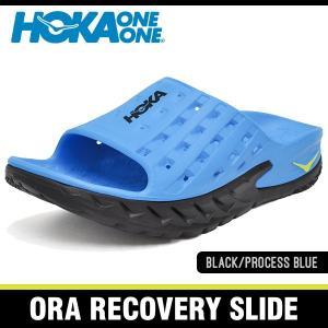 ホカオネオネ サンダル オラ リカバリー スライド ブラック/プロセスブルー HOKA ONE ONE ORA RECOVERY SLIDE BLACK/PROCESS BLUE 1014864-BPSB|denpcy