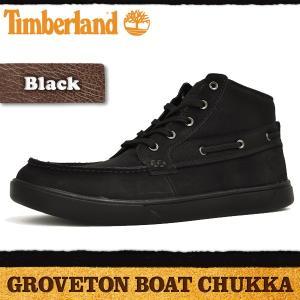 ティンバーランド ブーツ メンズ グローブトン ボート チャッカ ブラック Timberland GROVETON BOAT CHUKKA BLACK 2251B|denpcy