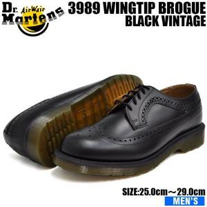 ドクターマーチン 3989 ウィングチップ ブローグ メンズ ブラック シューズ Dr.Martens 5EYE WINGTIP BROGUE BLACK 24340001 denpcy