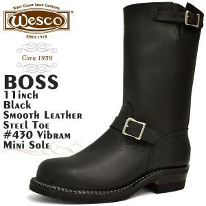 ウエスコ ボス 11インチ ブラック スムースレザー スチールトゥ Eワイズ ウェスコ WESCO BOSS 11inch BLACK|denpcy