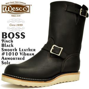 ウエスコ ボス 9インチ ブラック スムースレザー Eワイズ ウェスコ WESCO BOSS 9inch BLACK|denpcy