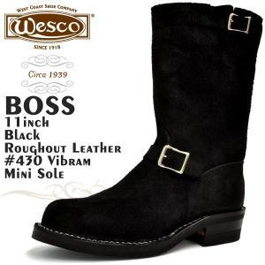 ウエスコ ボス 11インチ ブラック ラフアウトレザー スチールトゥ Eワイズ ウェスコ WESCO BOSS 11inch BLACK|denpcy