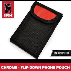 クローム フリップ-ダウン フォン ポーチ ブラック/レッド CHROME Flip-Down Phone Pouch Black/Red|denpcy
