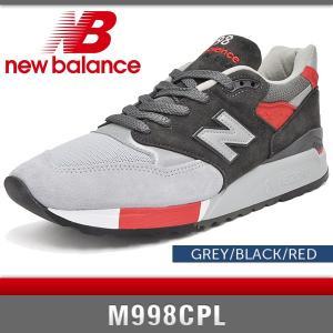 ニューバランス スニーカー メンズ M998CPL グレー/ブラック/レッド Dワイズ New Balance GREY/BLACK/RED MADE IN USA denpcy
