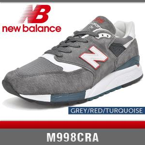 ニューバランス スニーカー メンズ M998CRA グレー/レッド/ターコイズ Dワイズ New Balance GREY/RED/TURQUOISE MADE IN USA denpcy