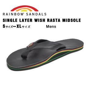 レインボーサンダルズ シングルレイヤー ウィズ ラスタ ミッドソール ブラック RAINBOW SANDALS SINGLE LAYER WISH RASTA MIDSOLE CLASSIC BLACK RASTALTH|denpcy