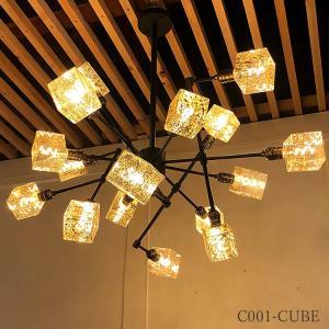16灯 LED シーリングライト キューブ型 シャンデリア ペンダント ライト 天井 照明 店舗 吊り下げ 照明 かわいい おしゃれ 豪華 C001-CUBE denraiasia