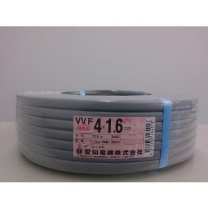 愛知電線 VVFケーブル1.6mm×4C 100m巻 灰色
