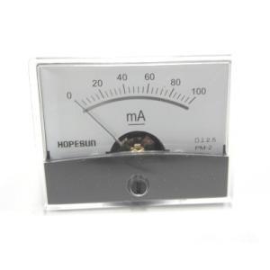 アナログDC電流パネルメーター100mA-60×47mm denshi