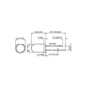 5mm抵抗LED赤-5V/12V 3個 denshi