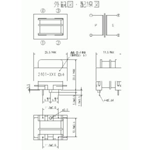 100V→6.0V/41mA 標準電源トランス PT2401-101|denshi