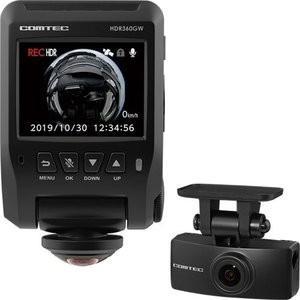 コムテック 前後2カメラドライブレコーダー 360°カメラ+リヤカメラ HDR-360GW  新品|densidonya