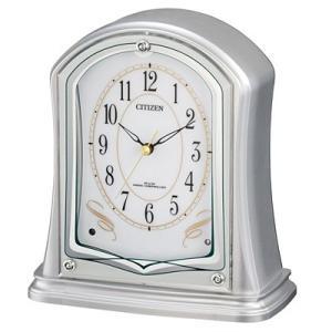 リズム時計 4RY694-019 シチズン 電波時計 置き時計 パルドリームR694(シルバーメタリック) (4RY694019)|dentarou