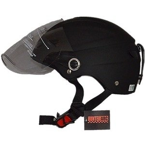 ds-1671089 スタイリッシュな開閉式シールド付きハーフヘルメット マットブラック (ds1671089) dentarou