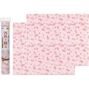 サンコー 4973381229079 トイレ シート 壁の汚れ防止 おくだけ吸着 消臭壁面シート 50×60cm 花柄バラ 2枚入 ピンク KL-22の商品画像|ナビ