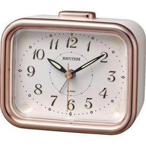 リズム時計 8RA644SR13 国産 目覚まし時計 ベル音アラーム 蓄光 ジャプレフルール(ピンク)|dentarou
