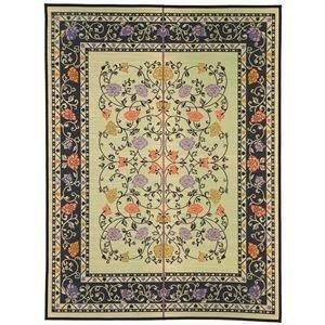 ds-2270380 国産い草 ラグマット 絨毯 約191×250cm ナチュラル×ブラック イデア 通常便なら送料無料 日本製 防滑加工 縁:綿100% [正規販売店] 代引不可 裏貼り仕様
