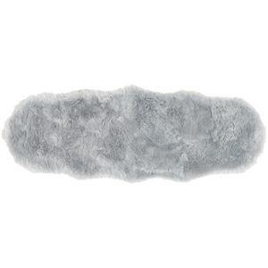 ds-2271258 ニュージーランド産 天然ムートンの2匹 ラグマット 約60×180cm グレー 値下げ 表面:羊毛皮100% 放湿性 ds2271258 吸水性 セール価格 M-511-F