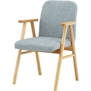 永遠の定番モデル ds-2286319 ダイニングチェア 食卓椅子 ライトグレー 幅56cm×奥行60cm×高さ85cm×座面高45cm 〔リビング〕 肘付き 気質アップ 木製素材 ds2286319