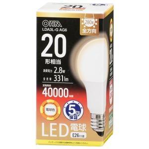 オーム電機 LDA3L-G-AG6 LED電球20W形電球色 (LDA3LGAG6)|dentarou