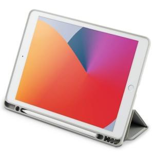 エレコム TBWA19RWVSAGY 【メール便での発送商品】エレコム iPad 10.2インチ ケース レザー フラップ 抗菌 グレー|dentarou