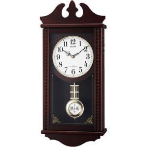 リズム時計 4MNA03RH06 電波時計 掛け時計 報時機能 暗所鳴り止め機能 60.7x27.5cm 木枠 ペデルセンR(茶色半艶仕上げ)|dentarou